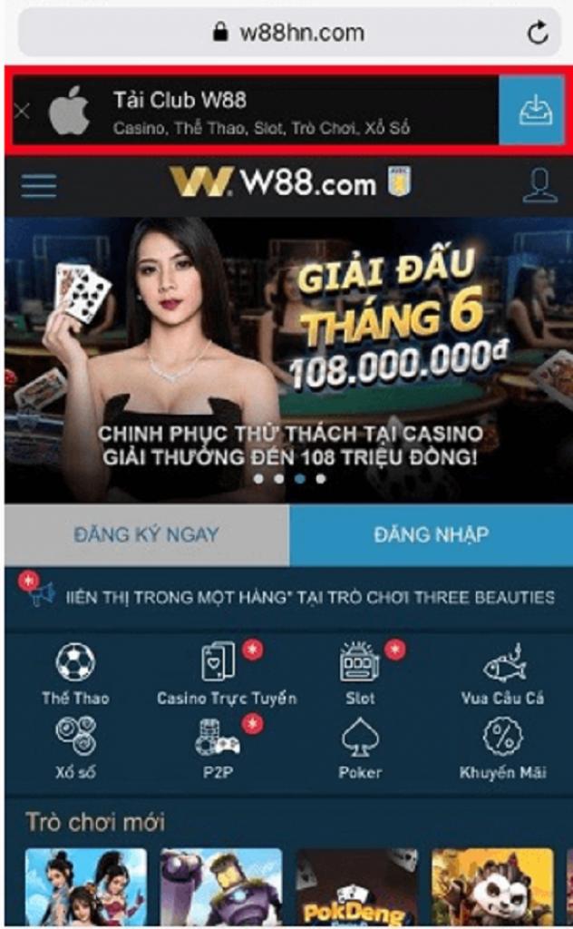 Cach tai app W88 android ios