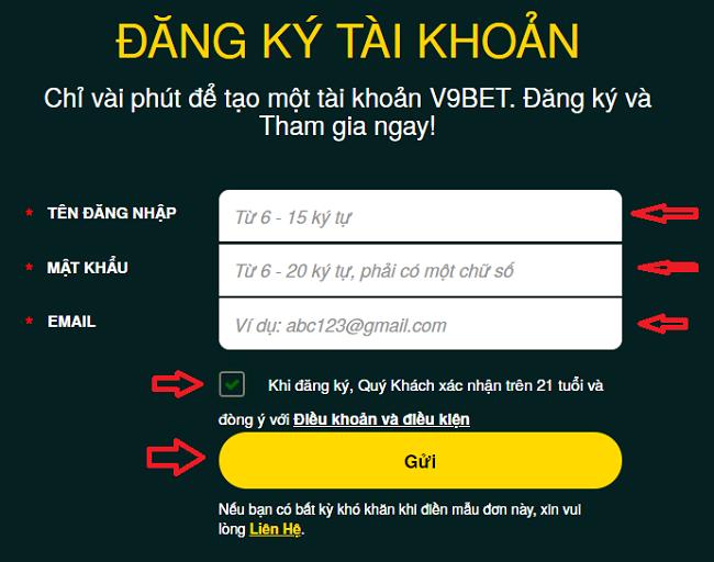 Cac buoc dang ky thong tin V9BET chinh xac