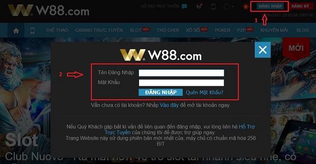 Cac buoc truy cap link phu W88asia